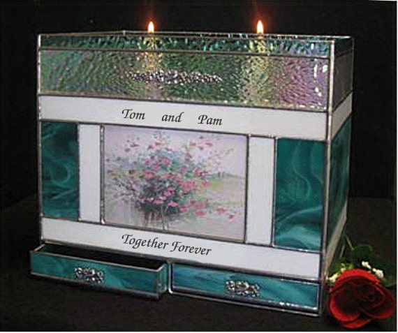 Adult Cremation#305H Candle Companion Photo Urn with Two Drawers  ( for 2 people )