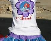 Ari's Angels Girls little Mermaid, Ariel Birthday Outfit, Monogrammed Personalized Shirt & Full Twirling Skirt