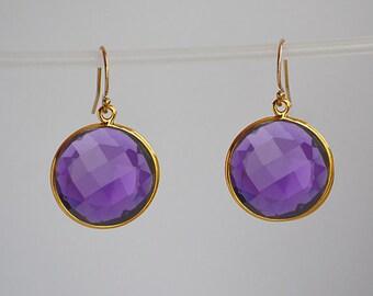 Gold Purple Amethyst earrings, bezel set Earrings, Large Gemstone Earrings, February Birthstone, round earrings, dangle earrings, leverback