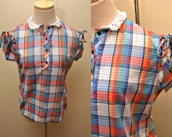 70s Multicolor Checkered Short Sleeved Blouse Womens Large