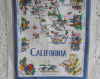 Vintage California Tea Towel, The Golden State, Retro Vintage Kitchen Linen, Moving Housewarming Gift