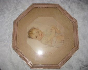 Retro Gerber Baby Clone Print, Vintage Miniature Framed BABY PRINT