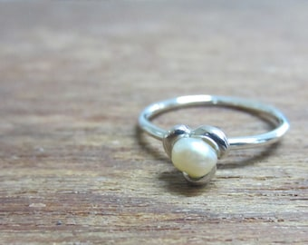 Flower Keshi Pearl Stackable Ring Sterling Silver, Stacking Ring, Size 2-15