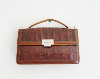 vintage 60's brown leather handbag