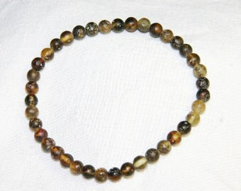 Baltic amber bracelet, unpolished round beads 8