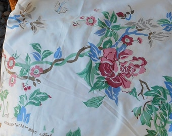 Gorgeous Scalamandre Exclusive vintage chintz fabric, Chinoiserie Lotus Blossom fabric, hand printed, 5 7/8 yards, hard to find print