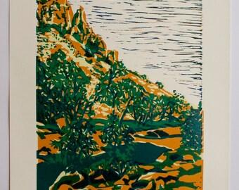 Lino print of Central Australian landscape