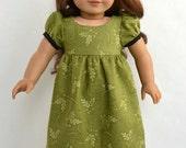American Girl 18 Inch Doll Dress Historical Regency Era Empire Caroline - Green