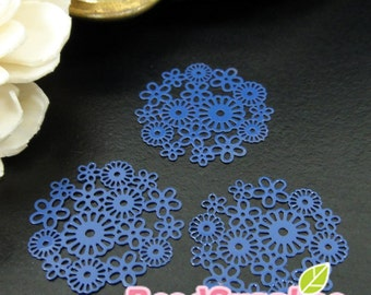 CH-ME-01240I - Navy Blue yellow enameled, Petit Daisy pattern computer-cut plate, 4 pcs