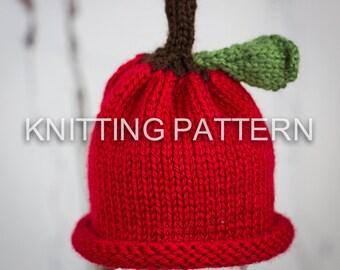 Knitting Pattern/DIY Instructions - Little Apple Aran Baby Beanie Hat