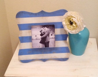 Periwinkle and White Stripe Picture Frame
