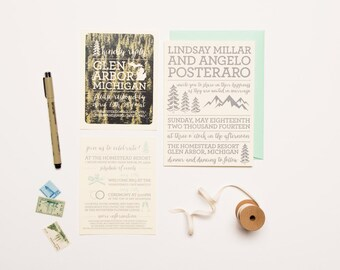 Rustic Mountain Wedding Invitation Set - Letterpress Printed