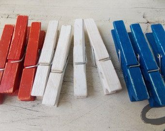 Weather red, white, and blue clothespins