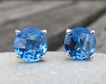 Topaz Studs-Blue Topaz Earrings- Blue Topaz Studs-Stone Post Earrings-Gemstone Studs-Stone Earrings-Silver Stud Earrings-Blue Stone Studs