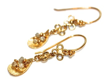 Gold Earrings Upcycled Earrings Real Diamond Earrings Diamond Jewelry 14k Gold Vermeil Spring Style  Flower Earrings Spring Jewelry