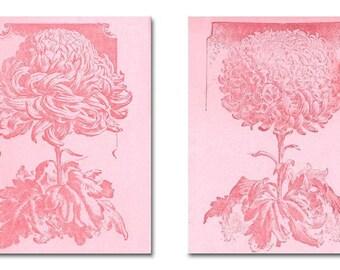 Floral Nursery Art, Pink Flowers SET OF 2 Art Prints, Shabby Chic, Baby Girl Nursery Decor, Nursery Wall Art, Girls room Decor, Floral Decor