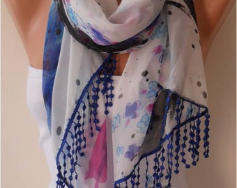 Floral Chiffon Scarf with Lace Edge - Gift