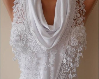 Mothers Day Gift, Scarf, Shawl, Gifts For Her, Gifts For Women White Cotton Scarf with Lace Edge - Triangular Scarf - Gift