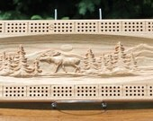 Outdoor Bear and Moose Scene Made From Solid Oak