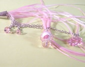 Feather Key Chain Pink and White Feathers with Pink Swarovski Crystals and Pink Swarovski Heart