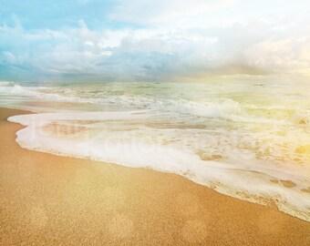 "Beach Shoreline, Ocean, Waves, Sunrise 8"" x 10"" Photograph Print"
