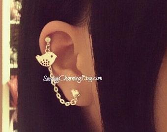 Little Bird Cartilage Chain Earring Double Lobe Ear Cuff Dangle Animal Helix Ear Cuff Jewelry