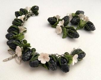 Blue Jewelry,Berry Jewelry, Flower Jewelry,Charm Bracelet,Blue Earrings,Blackberry, Gift For Her,Spring Jewelry,Statement Bracelet,Handmade