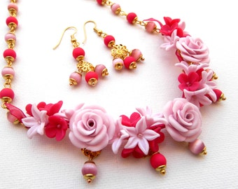 Roses, Pink Jewelry, Flower Jewelry, Handmade Necklace, Handmade Earrings, Flower Necklace, Flower Earrings, Gift For Her, Floral