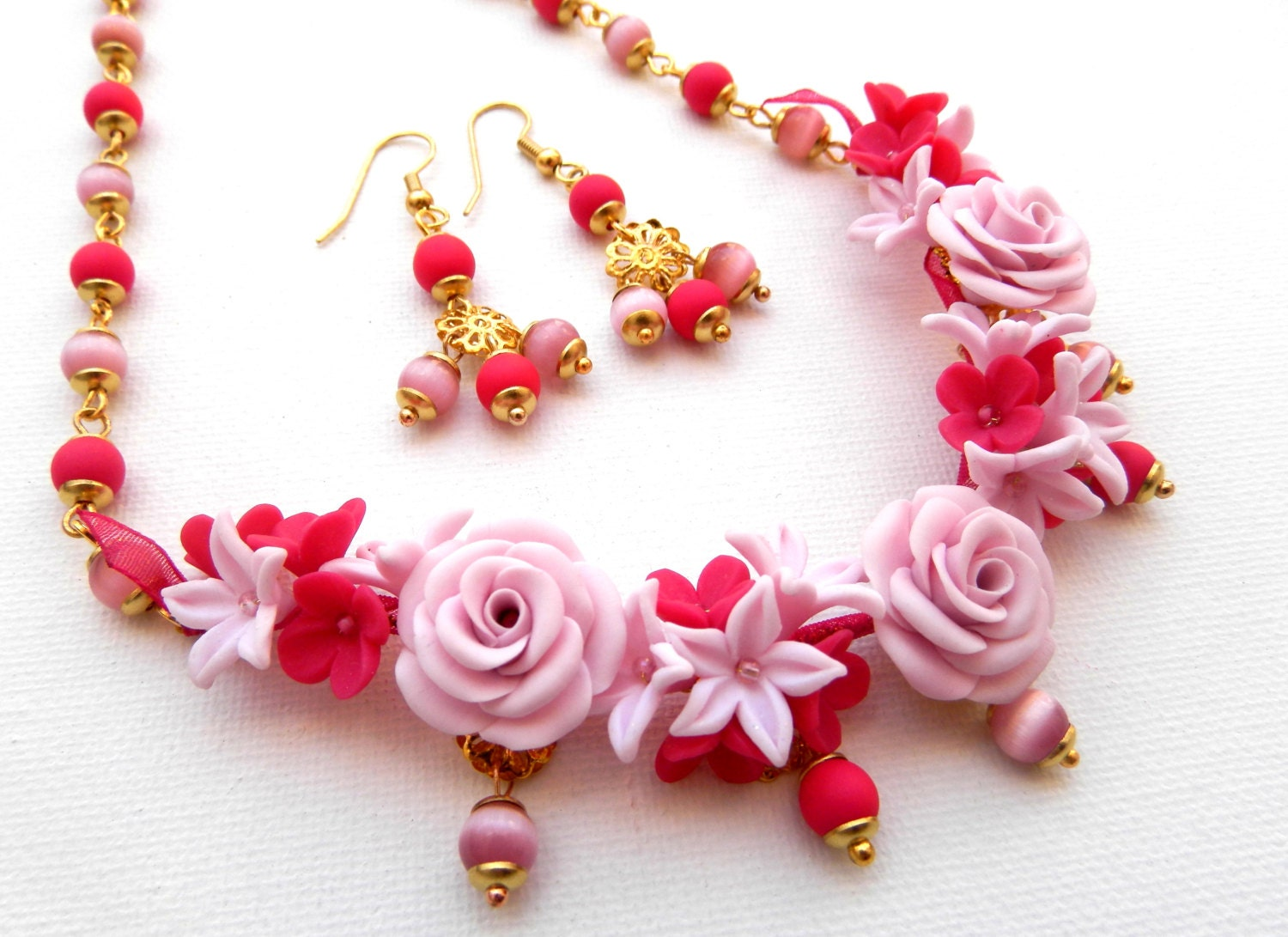 Roses Pink Jewelry Flower Jewelry Handmade Necklace