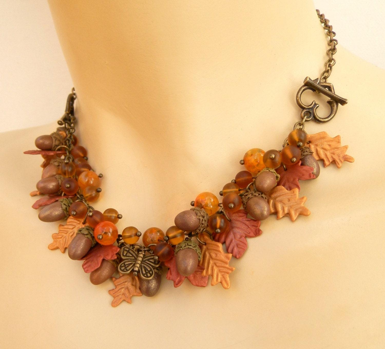 Acorn jewelry Fall leaves Handmade Fall jewelry Necklace