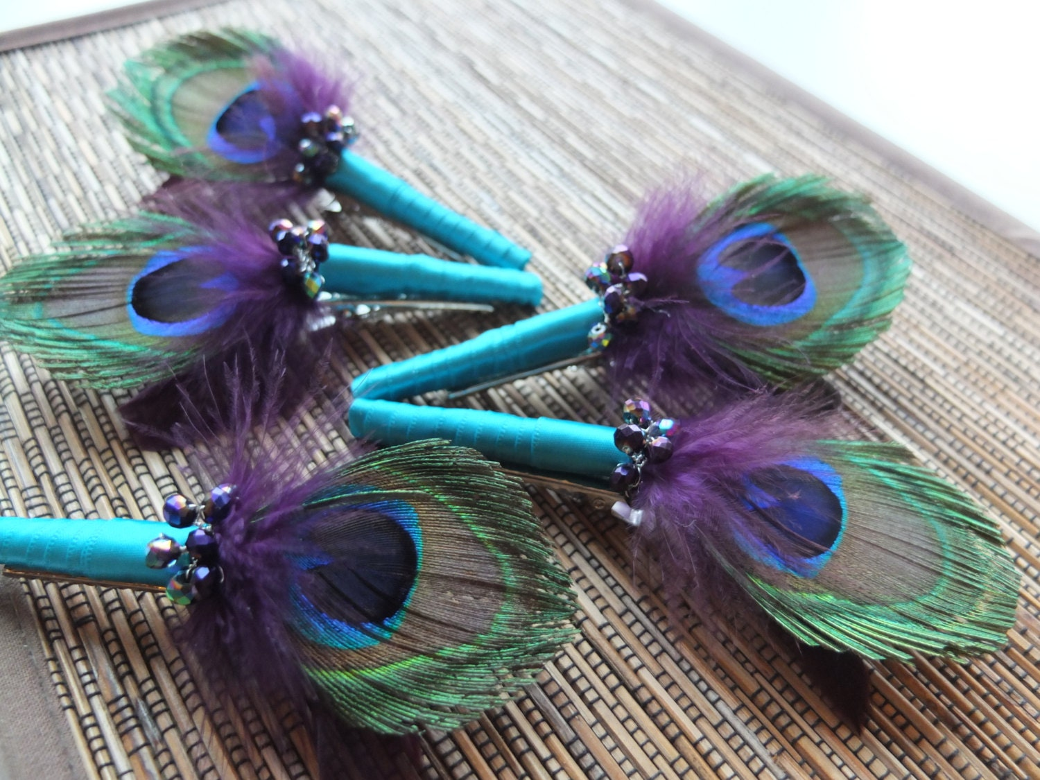 Peacock Feather Boutonniere Purple And Teal By Lovemimosafleur
