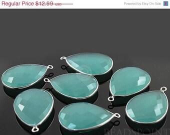 SALE Aqua Blue Chalcedony, Bezel Pear Shape Gemstone Component, 925 Sterling Silver,  20x30mm 1 Piece, (SSBZ7079)