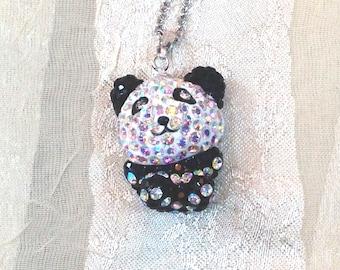 Crystal Panda Bear Necklace Handmade Jewelry