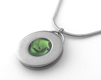 Circle Pendant Necklace, Lime Green, Stainless Steel Snake Chain, Customizable Jewelry, Choose Your Color and Chain