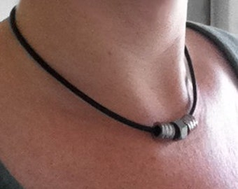 Mens Tribal Necklace, Black Leather Cord, Stainless Steel Jewelry, Gifts for Him, industrial Jewelry