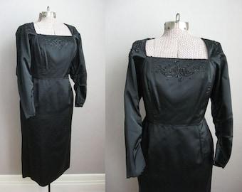 1950s Wiggle Dress Beaded Black Satin Vintage 1960s Cocktail Dress / Medium