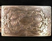 Vintage Intricately Engraved Sterling Silver Buckle with Blank Monogram Relief