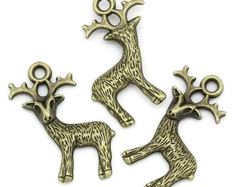 10 Pieces Antique Bronze Reindeer Charms