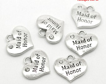 "4 Pieces Antique Silver Rhinestone ""Maid of Honor"" Wedding Heart Charms"