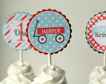 Red Wagon Cupcake Toppers - Set of 12
