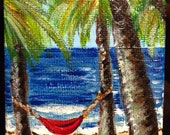 Hammock and Palm Trees mini painting