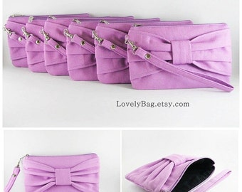 SUPER SALE - Set of 8 Lavender Purple Bow Clutches - Bridal Clutches, Bridesmaid Clutches, Bridesmaid Wristlet, Wedding Gift - Made To Order