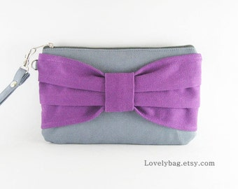 SUPER SALE - Gray with Eggplant Purple Bow Clutches - Bridal Clutch,Bridesmaid Bag,Wedding Gift,Cosmetic Bag,Zipper Pouch - Made TO Order