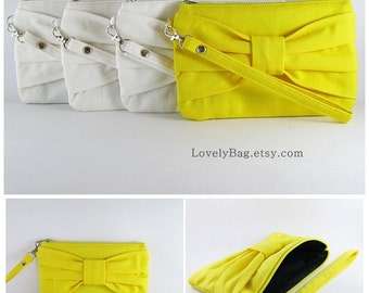 Set of 6 Bridesmaids Clutches / ( 5 Ivory Bow Clutches and 1 Yellow Bow Clutch ) - Personalized Monogram Zipper Pull - MADE TO ORDER