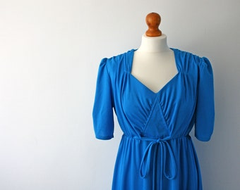 Vintage Bright Blue Dress, Evening Dress, Plus Sized