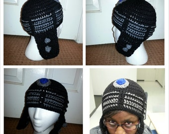 Doctor Who crochet Dalek Hat Black and Grey with earflaps