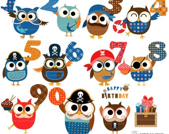 Birthday pirate owl clip art for Personal and Commercial use - INSTANT DOWNLOAD