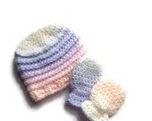 Baby hat and mittens set, newborn 0-6 month's, pastel colours,new born,baby crochet beanie hat,baby shower gift,baby mittens,baby girl.
