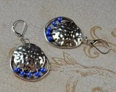 Hammered Silver Discs Blue Beads Dangle Earrings Royal Large Drop Lever Back Bohemian Fashion Jewelry Boho Jewellery Free Shipping