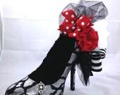 High Heel Shoe, Snake Skin, Black Velvet, Jewelry Display Decor